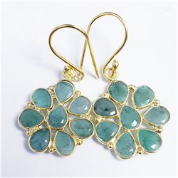 GOLD PLATED SILVER EMERALD EARRINGS