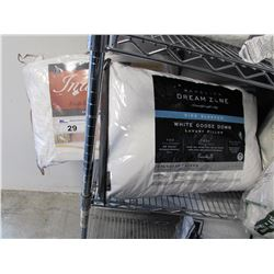 WAMSUTTA DREAM ZONE WHITE GOOSE DOWN QUEEN SIZE SIDE SLEEPER PILLOW & INDULGENCE QUEEN SIZE