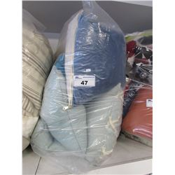 BAG OF ASSORTED STAGE HOME THROW PILLOWS & BLANKET