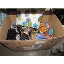 BOX OF ASSORTED BBQ UTENSILS, HOUSEHOLD ITEMS, THROW PILLOW, COASTERS, LIGHT UP BEACH BALLS, ETC