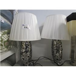 2 CHROME TABLE LAMPS WITH WHITE SHADES