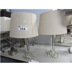 2 GLASS TABLE LAMPS WITH BEIGE SHADES