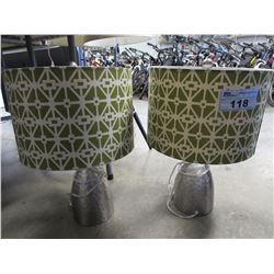 2 CHROME TABLE LAMPS WITH GREEN SHADES