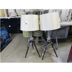 2 TELESCOPIC TRIPOD STAND LAMPS WITH BEIGE SHADES
