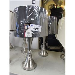 2 BRUSHED NICKEL TABLE LAMPS WITH BLACK SHADES