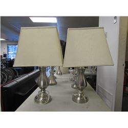 2 BRUSHED NICKEL TABLE LAMPS WITH BEIGE SHADES