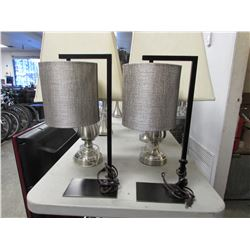 2 SMALL BLACK TABLE LAMPS WITH GREY SHADES
