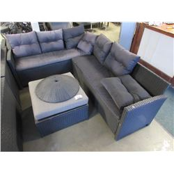 OUTDOOR SECTIONAL PATIO SET INCLUDES FOOT REST, CUSHIONS & PILLOWS