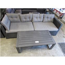 OUTDOOR PATIO COUCH INCUDES TABLE & CUSHIONS