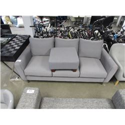 3 SEATER GREY STITCHED PATTERN SOFA WITH FOOT STOOL