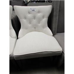 WHITE STUDDED/BUTTON WING-BACK CHAIR