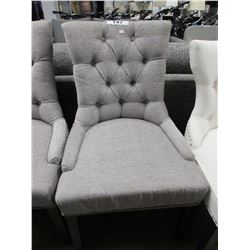 GREY STUDDED/BUTTON WING-BACK CHAIR