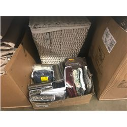 LAUNDRY BASKET & CONTENTS, BOX OF ASSORTED LINENS (FURNITURE SLIP COVERS, WINDOW PANELS, ETC