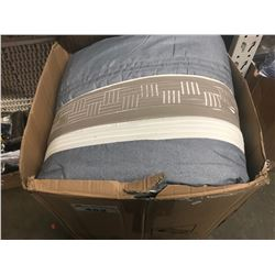 BOX OF CURTAIN PANELS & COMFORTER (SIZES UNKNOWN)