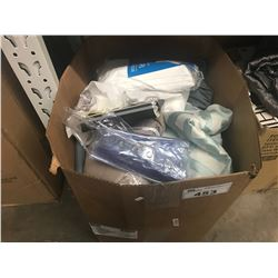 BOX OF CURTAIN PANELS, MATTRESS PROTECTORS, SHOWER CURTAINS & ASSORTED LINEN