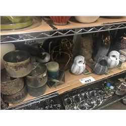 OWL FIGURINES, CANDLES, CANDLE TRAYS, STORAGE BOXES, ETC
