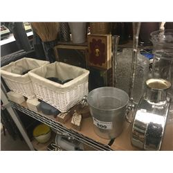 CHAMPAGNE BUCKET, STASH BOX BOOKS, VASES, BASKETS, DECORATIVE CANDLE HOLDERS & GLASSWARE