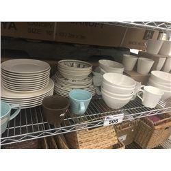 SHELF LOT OF PLATES, BOWLS, CUPS