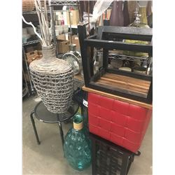 PLANT STAND, ROCKING FOOT STOOL, GLASS VASES, RATTAN VASE, SMALL TABLE