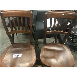 2 WOODEN ROLLING CHAIRS