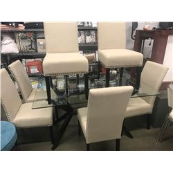 GLASS DINING TABLE & 6 TAN STUDDED CHAIRS