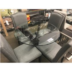ROUND GLASS TABLE & 4 GREY STUDDED CHAIRS