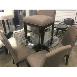 ROUND GLASS TABLE & 4 BROWN STUDDED CHAIRS