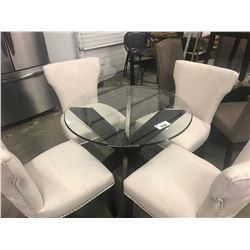 ROUND GLASS TABLE & 4 WHITE STUDDED CHAIRS
