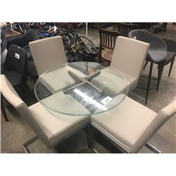 SHORT ROUND GLASS TABLE & 4 CEMENT COLOURED CHAIRS