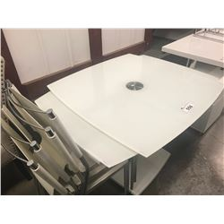 WHITE GLASS TABLE WITH PULL-OUT EXTENSIONS (INCLUDES 4 CHAIRS)
