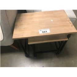2 SMALL ROLLING SIDE TABLES
