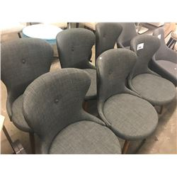 SET OF 6 GREY CLOTH WING-BACK CHAIRS
