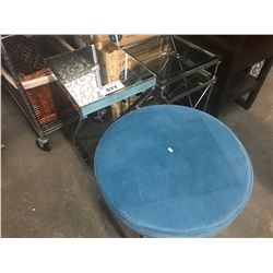 2 GLASS TOP NESTING TABLES, MIRRORED SIDE TABLE & FOOTSTOOL