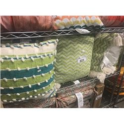 SHELF LOT OF ASSORTED THROW PILLOWS