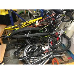 PALLET LOT OF ASSORTED BIKES, FRAMES, ETC