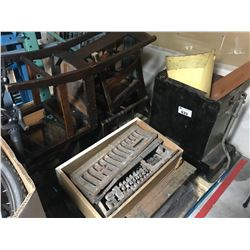 PALLET OF ANTIQUE CHAIRS, STOVE PARTS, ETC