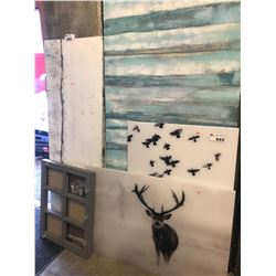 4  LARGER WOOD CANVASES, SMALLER CORKBOARD CANVASES, ETC