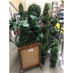 LARGE LOT OF ARTIFICIAL PLANTS & WOODEN BOARD
