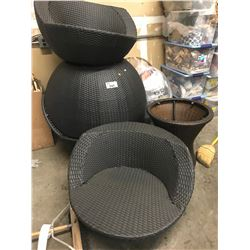 4 OUTDOOR RATTAN CHAIRS