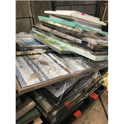 LARGE PALLET LOT OF ASSORTED HOME STAGING PAINTED CANVASES & PRINTS