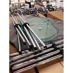 APPROX 8 GLASS TABLE TOPS & TRIPODS