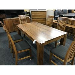 CHERRY SOLID WOOD 6.5' X 3' DINING TABLE WITH SET OF 6 MATCHING PADDED DINING CHAIRS
