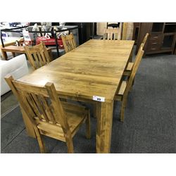 MAPLE SOLID WOOD 10' TRADITIONAL STYLE DINING TABLE WITH SET OF 6 MATCHING SLAT BACK DINING CHAIRS