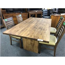 TRADITIONAL KNOTTY PINE 6' X 3' DINING TABLE WITH 4 PADDED DINING CHAIRS