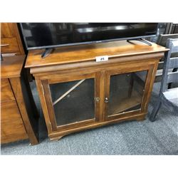 "TRADITIONAL WALNUT ""MORGAN"" DOUBLE GLASS DOOR CONSOLE STAND"