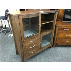 "TRADITIONAL WALNUT ""SOHO"" MULTI COMPARTMENT GLASS FRONT CABINET"