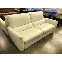 NATUZZI EDITIONS WHITE LEATHER 3 SEAT SOFA WITH ELECTRIC RECLINING SEATS