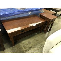 RED OAK SOLID WOOD COFFEE TABLE AND MATCHING END TABLE