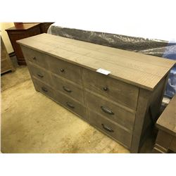STORM GREY SOLID WOOD 9 DRAWER DRESSER AND SIDE TABLE