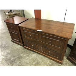 WALNUT 2 DRAWER FILE CABINET AND SINGLE DRAWER NIGHT STAND